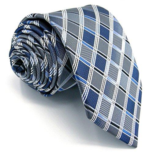 """Shlax&Wing Geschäftsanzug Herren Krawatte Grau Blau Kariert Seide Extra lang 63"""" 160 cm 57.5"""" 147 cm Dünne 2.36"""" 6 cm"""