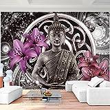 Fototapeten Buddha Lilie Violett 352 x 250 cm Vlies Wand Tapete Wohnzimmer Schlafzimmer Büro Flur Dekoration Wandbilder XXL Moderne Wanddeko - 100% MADE IN GERMANY - Feng Shui Runa Tapeten 9108011a