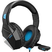 Mpow Gaming Headset für PS4, EG10 PC Gaming Kopfhörer mit 50MM-Treiber, Super Leicht LED Gaming Headset, Noise Cancelling-Mikrofon, Over-Ear Gaming Headset für PC, Handy,Xbox one, Nintendo Switch