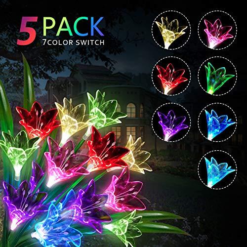 Extérieur Lampes Solaires de Jardin 15 Lily Fleur Multicolore Changer LED Lampes Étanche solaires pour Jardin, Terrasse(5 Packs)