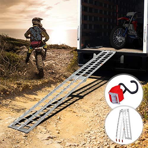 MIADOMODO Auffahrrampe 340kg pro Rampe | 1er oder 2er Set, Aluminium, klappbar, Antirutsch | Laderampe, Auffahrschiene, Anhängerrampe, Verladerampe, Verladeschiene, Fahrrampe