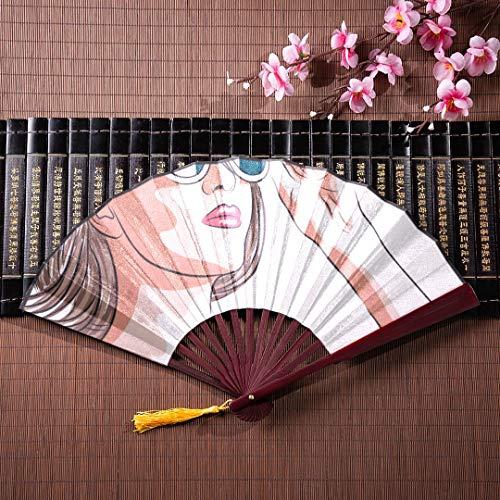 EIJODNL Fan Japanisch Für Männer Schöne Frau Mit Sonnenbrille Mit Bambusrahmen Quaste Anhänger Und Stoffbeutel Faltfächer Handfalten Große Fan Plain Faltfächer