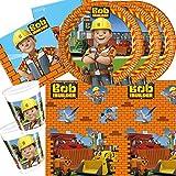 37-teiliges Party-Set Bob der Baumeister - Teller Becher Servietten Tischdecke für 8 Kinder
