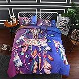 BEDSETAAA Bettwäsche Artikel Vier Stück Anzug Polyester Baumwolle 3D Digitaldruck Bettbezug Blatt Kissenbezug Dreamnet Serie 135x200cm lila