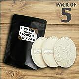 RIXTEC Set Of 5 Natural Loofah For Women Bath Sponge Oval Loofah For Men and Women Loofah For Bathing Bath Sponge For Bathing