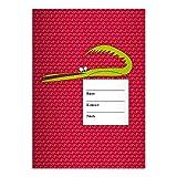 Kartenkaufrausch 4 komische DIN A4 Schulhefte, Schreibhefte mit schlauem Krokodil, rot Lineatur 25 (liniertes Heft)