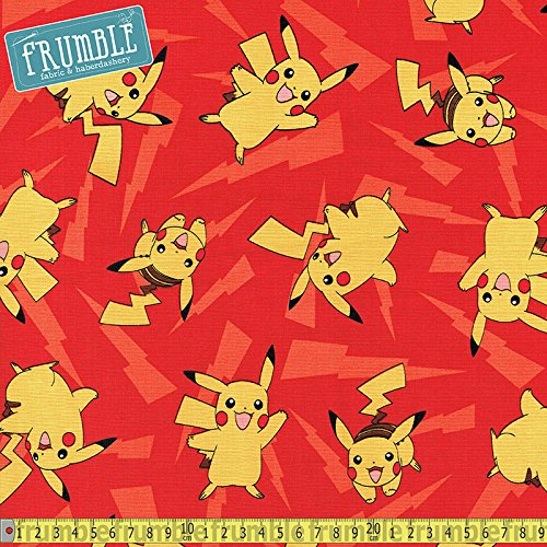 Robert Kaufman Pokemon Pikachu Lightning Rosso Cucito Tessuto (prezzo al metro)