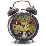 Mini Mute Wecker mit Nacht Licht, Cuitan Retro Arabischen Ziffern Analog Quarzwecker kein Ticken Doppelglockenwecker Lauter Alarm Tischuhr Geräuschlos Uhr Alarm Clock für Schlaf Wohnzimmer Büro