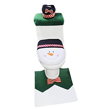 1 Set Snowman Toilet Seat Cover And Rug Bathroom Christmas Decoration Decor Amazoncouk DIY Tools