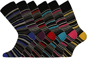 6 Pk Mens Pierre Calvini Luxury Stripe Cotton Rich Sock 6-11 UK