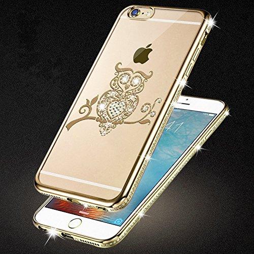 iPhone 6S Plus & 6 Plus Hülle Glitzer-Strass Case Schutzhülle (5,5 Zoll) im stylishen Glamour glitzer Crystal Look mit Strassteinen und Aufdruck für das iPhone 6S-6 Plus - Farbe: Rosé -Rose - Nur orig gold - Eule