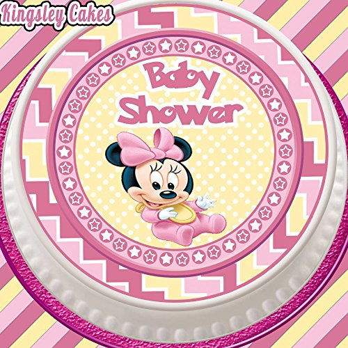 vorgeschnittenen Essbarer Zuckerguss Cake Topper, 19,1cm rund rosa Baby Dusche Minnie Maus (Baby Minnie Maus Baby-dusche)