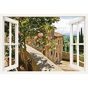 Artland Qualitätsbilder I Bild auf Leinwand Leinwandbilder Wandbilder 100 x 70 cm Landschaften Garten Foto Grün B8CT Rosen Balkon San Gimignano Toskana