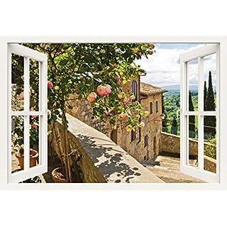 Artland Qualitätsbilder I Wandtattoo Wandsticker Wandaufkleber 100 x 70 cm Landschaften Garten Foto Grün B8CT Rosen Balkon San Gimignano Toskana