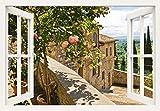 Artland Qualitätsbilder I Alu Dibond Bilder Alu Art 70 x 50 cm Landschaften Garten Foto Grün B8CT Rosen Balkon San Gimignano Toskana