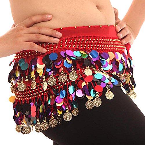 Colorful Bauchtanz Hüften Schal Chiffon Rock Wrap Gold Münze Taille (Bauchtanz Kostüme Hüfte Schal)