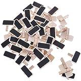50 Pezzi Mini Lavagna Clip, Bacheca Foto Lavagna Mollette Mini Clip in Legno, segni numero tavolo, matrimonio, bar, etichetta