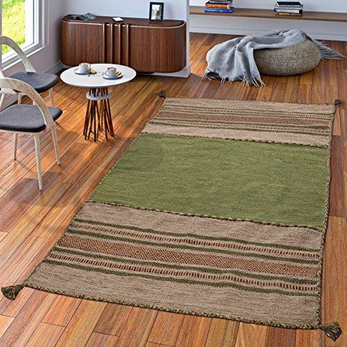 TT Home Handwebteppich Wohnzimmer Natur Webteppich Kelim Modern Baumwolle Streifen Grün, Größe:60x110 cm