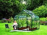 Gartenwelt Riegelsberger Gewächshaus Diana - Ausführung: 8300 ESG 3 mm dunkelgrün, Fläche: ca. 8,3 m², mit 2 Dachfenster, Sockel: 2,54 x 3,17 m