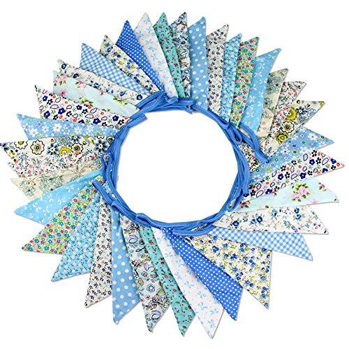 G2PLUS Süße Beidseitig Wimpel Girlande, 10M Bunting Wimpelkette mit 36 STK Farbenfroh Wimpeln für Hochzeits Geburtstag Party (Blau 2)