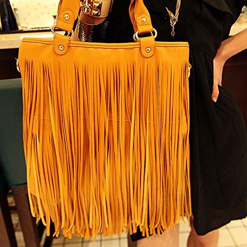 f602b71423776 ... Milya PU-leder Damentasche Milya Europäische und amerikanische großen  Mode Retro Fransen Tasche PU-