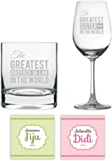 YaYa Cafe Anniversary Gifts for Sister Didi Jiju, Greatest Bro-in-Law and Greatest Sister Whiskey Wine Glass Combo, Coasters Set of 4