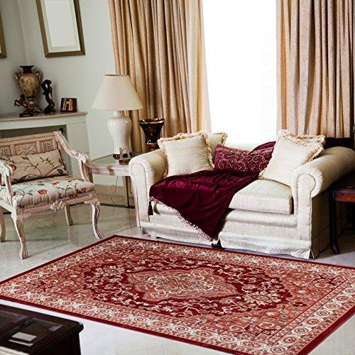 Alfombra Oriental Persa Diseño Clásico BORDURA Rojo Tamaño S-XXXL (160 x 220 cm)