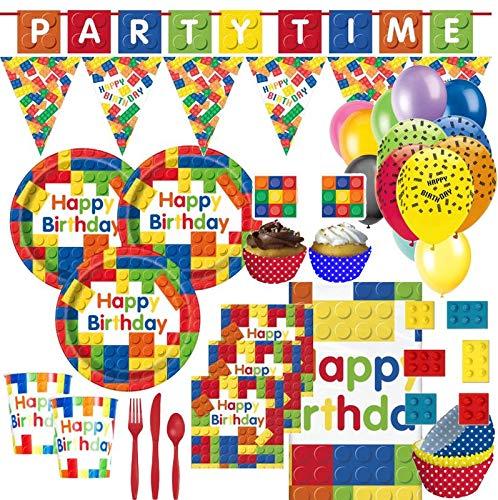 XXL 94 Teile Bausteine Geburtstags Party Set für 8 Kinder