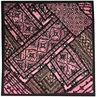 Mogul Interior Indian Ethnic Pillow Cover Mirror Work Pink/Black Bohemian Pillow Case 18X18