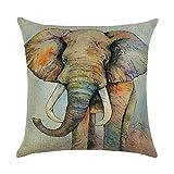 hengjiang Kissen Animal Cartoon Elefant Gemälde 120g Dicke Baumwolle Leinen doppelseitig 45,7x 45,7cm/45x 45cm Überwurf Kissen für Zuhause Sofa Bett Auto Büro Deko 01