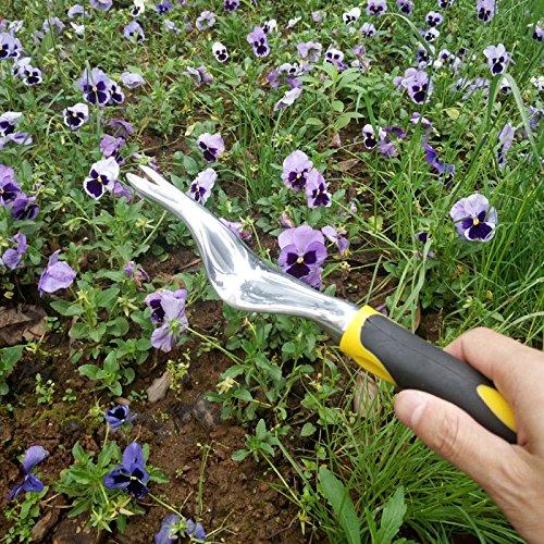 LVEDU Garten Unkrautjäter Hand Werkzeug–Garten-Unkrauthacke mit ergonomischer Griff für Bepflanzung und Jäten–Handheld Unkrautjäter Kultivator für Blumen und Gemüse Pflanzen Pflege