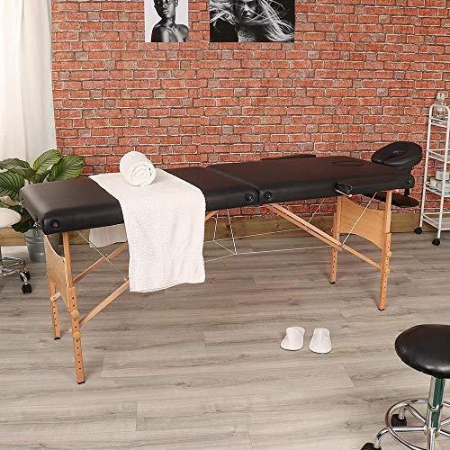 Heaven®, tavolo in legno pregiato per massaggi, divano letto bianco Nero