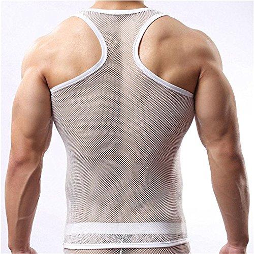YiZYiF Herren Unterhemd aus Netz Transparent Unterwäsche Stretch Ringer T-shirt Tank Top Achselshirt Clubwear M-XL Weiß