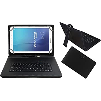 Acm Premium Usb Keyboard Tablet Case Holder Cover For Samsung Galaxy Tab E T561 With Free Micro Usb Otg - Black