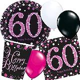 Neu: Lot DE 44 pièces de fête Magenta Sparkling pour l'anniversaire des 60 Ans avec Assiettes, gobelets et Serviettes + Ballons décoratifs Party Motto Sechzig Rose