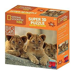 National Geographic ng13531Kids Super Africano Leones y crías de León 3D Puzzle ((63Piezas))