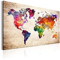 murando – Impression sur toile - 120x80 cm - 1 Piece - Image sur toile - Images - Photo - Tableau - motif moderne - Décoration - tendu sur chassis -Carte du Monde k-B-0027-b-a