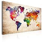 murando - Bilder 120x80 cm - - Leinwandbilder - Fertig Aufgespannt - Vlies Leinwand - 1 Teilig - Wandbilder XXL - Kunstdrucke - Wandbild - Weltkarte Kontinente Welt Karte k-B-0027-b-a