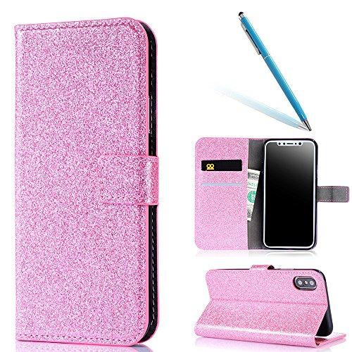 Shiny Coque pour iPhone 5s, CLTPY iPhone SE Ultra Fine Mode Anti Choc Téléphone Pochette Couvercle avec Fermeture Aimantée et Carte Holder Désign pour Apple iPhone 5/5s/SE + 1x Stylet - Pink