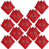 QUMAO (100% Baumwolle) 12 Stk Paisley Bandana Halstuch 55 x 55 cm Kopftuch Armtuch Mischfarben Haar, Hals, Kopf Schal Nickituch Vierecktuch für Damen und Jungen (55 x 55 cm, 12 Stück/Rot)