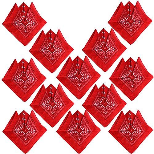 QUMAO (100% Baumwolle) 12 Stk Paisley Bandana Halstuch 55 x 55 cm Kopftuch Armtuch Mischfarben Haar, Hals, Kopf Schal Nickituch Vierecktuch (Rot)