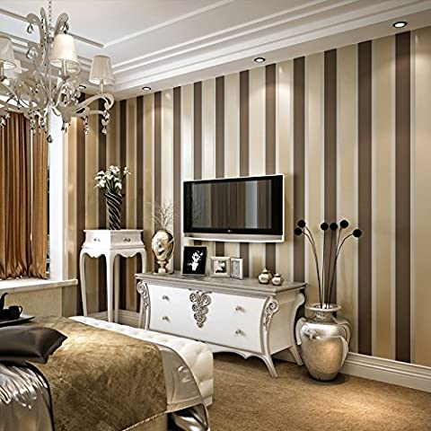 Rayas verticales simple papel pintado no tejido salón dormitorio moderno corredor TV pared documento , coffee gold