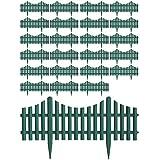 Multistore 2002 24 Stück Gartenzaun Zierzaun Beeteinfassung Beetabgrenzung Lattenzaun Dekozaun Kunststoffzaun Grün 60,5x33cm Beetumrandung Zaun