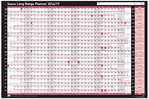 Sasco 2401750 - Tablero de planificación 2016-2017, azul y rojo