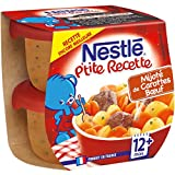 Nestlé Bébé P'tite Recette Mijoté de Carottes Bœuf - Plat Complet dès 12 Mois - 2 x 200g - Lot de 8
