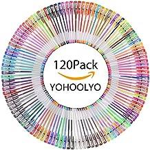 YOHOOLYO 120pcs Bolígrafos de Gel Bolígrafo de Tinta Brillante y Multicolor para Pintura Libro de Colorear o Tomar Notas