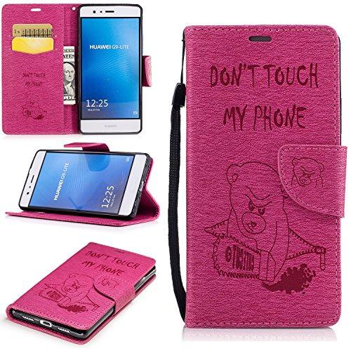 Lomogo [Huawei P9 Lite] Hülle Leder, Schutzhülle Brieftasche mit Kartenfach Klappbar Magnetverschluss Stoßfest Kratzfest Handyhülle Case für Huawei P9Lite - BIFE24745 Rosa Rot-Bär