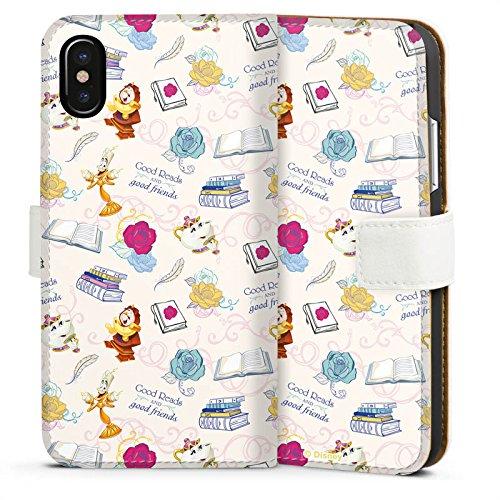 Apple iPhone X Silikon Hülle Case Schutzhülle Die Schöne und das Biest Disney Madame Pottine Von Unruh Lumière Muster Sideflip Tasche weiß