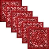 Boolavard Bandana Kopftuch Halstuch - gemustert: Paisley Muster - 100% Baumwolle Bindetuch 1 er 6 er oder 12 er Pack!! (6 x Rot)