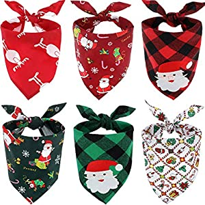 SATINIOR 6 Pièces Bandana de Chien de Noël Bandanas de Plaid de Père Noël Écharpes Bavoirs Triangulaires pour Accessoires de Costume d'Animal de Compagnie